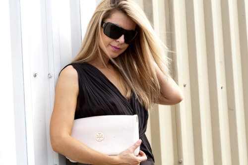 Dress: Alexander Wang, Shades: YSL, Clutch: Tory Burch
