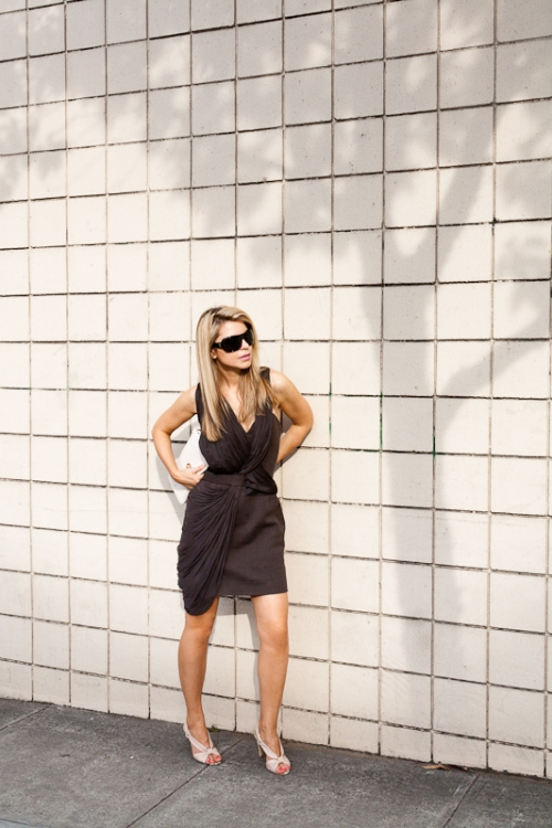 Dress: Alexander Wang, Shades: YSL, Clutch: Tory Burch, Shoes: Coach